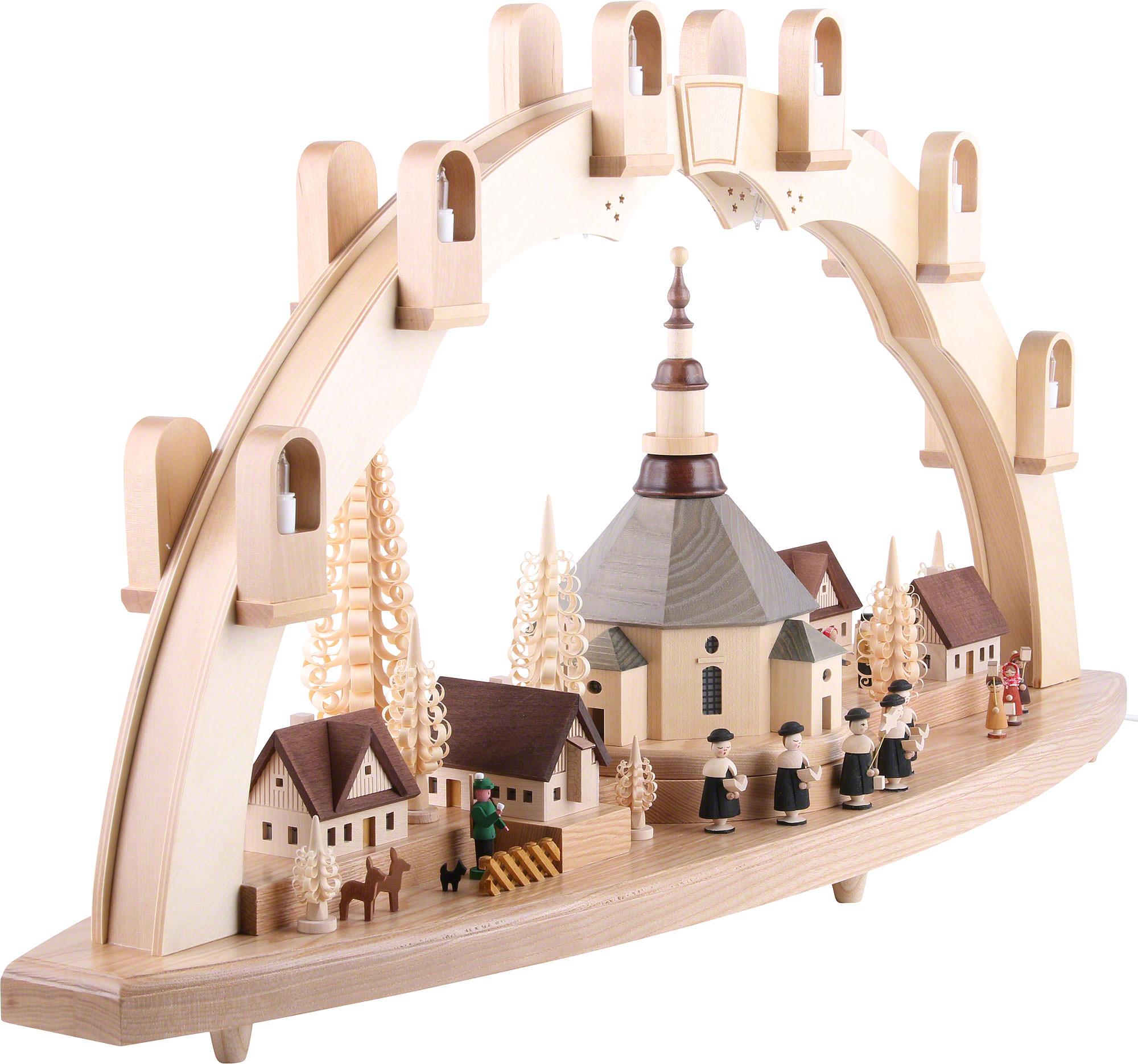 schwibbogen seiffener kirche mit dorf 80 41 cm von richard gl sser. Black Bedroom Furniture Sets. Home Design Ideas