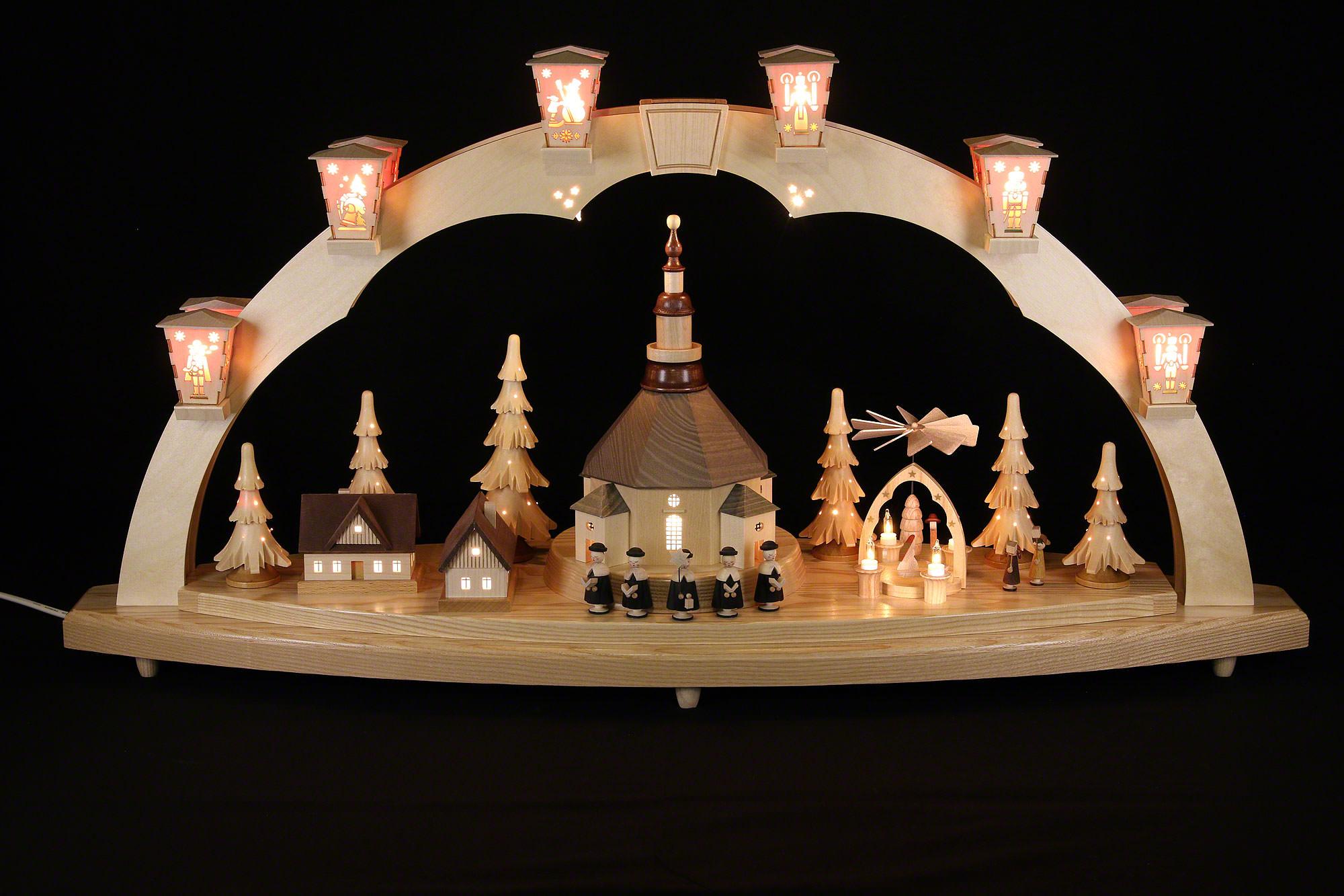 schwibbogen seiffener kirche mit pyramide 40x80cm von richard gl sser. Black Bedroom Furniture Sets. Home Design Ideas
