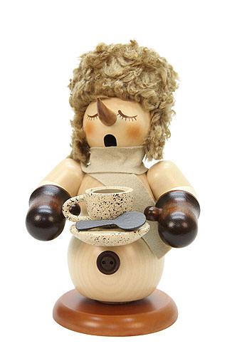 Räuchermännchen Schneemann mit Kaffeetasse natur 21,5 cm
