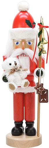 Nussknacker Weihnachtsmann mit Teddy lasiert 42 cm