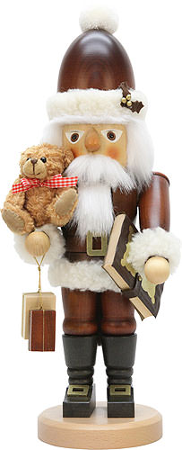 Nussknacker Weihnachtsmann mit Teddy natur 44,0 cm