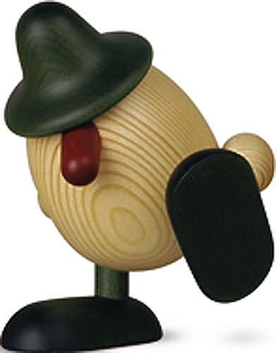 Eierkopf Alfons auf Kante sitzend tanzend, grün 11 cm