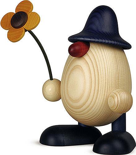 Eierkopf Vater Rudi mit Blume stehend, blau 15 cm