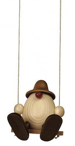 Eierkopf Vater Bruno auf Schaukel, braun 15 cm