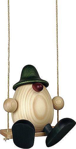 Eierkopf Vater Bruno auf Schaukel, grün 15 cm