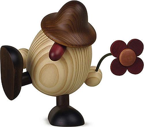 Eierkopf Vater Anton mit Blume sitzend tanzend, braun 15 cm