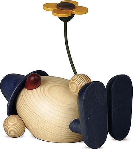 Eierkopf Vater Oskar mit Blume liegend, blau 15 cm