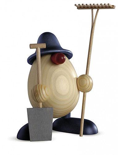 Eierkopf Vater Benno, Gärtner, blau 15 cm
