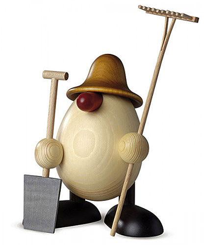 Eierkopf Vater Benno, Gärtner, braun 15 cm
