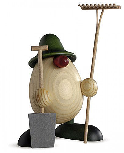 Eierkopf Vater Benno, Gärtner, grün 15 cm