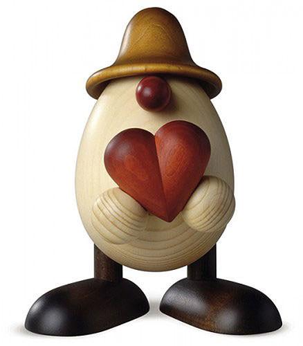 Eierkopf Vater Hanno mit Herz, braun 15 cm