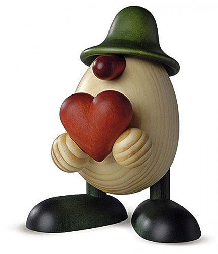 Eierkopf Vater Hanno mit Herz, grün 15 cm