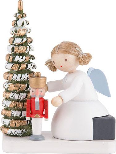 flachshaarengel mit nu knacker am weihnachtsbaum 5 cm. Black Bedroom Furniture Sets. Home Design Ideas