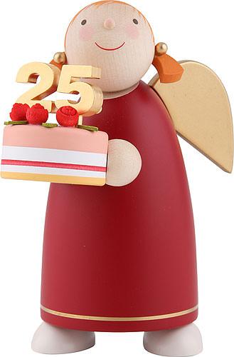 Schutzengel mit Torte, rot 8 cm